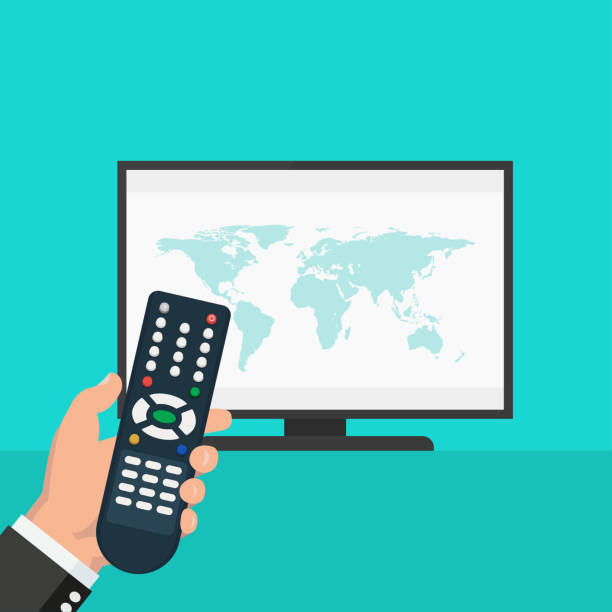 Hand holding wireless remote control near flat screen tv watching world news World news on tv - stock vector watching tv stock illustrations