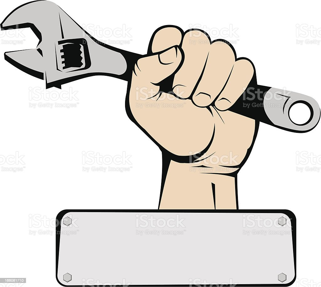 Hand holding wrench. vector art illustration