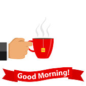 A hand holds a cup of tea. Good morning. Flat design, vector illustration, vector.