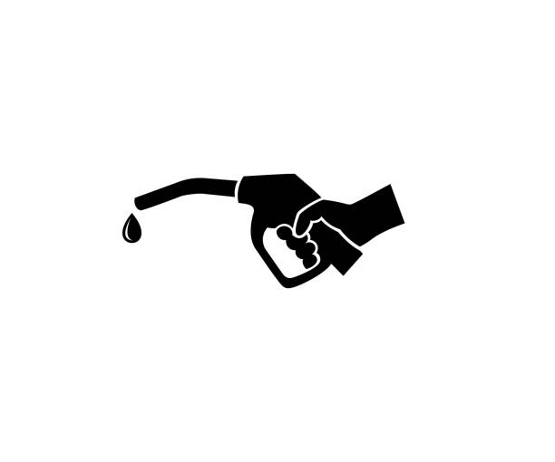illustrazioni stock, clip art, cartoni animati e icone di tendenza di hand holds a refueling gun and a drop of gasoline logo design. gas station vector design. icon and sign gas station - benzina