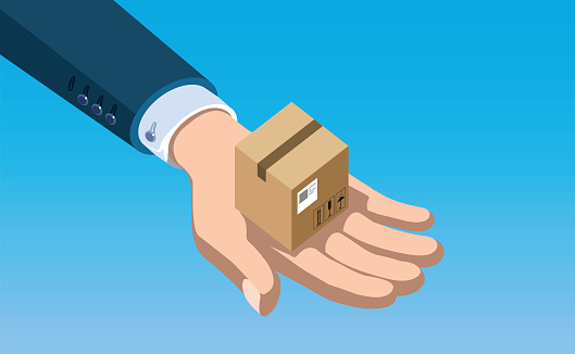 hand holds a small shipping box, vector illustration representing safety and quality in storage and shipping service
