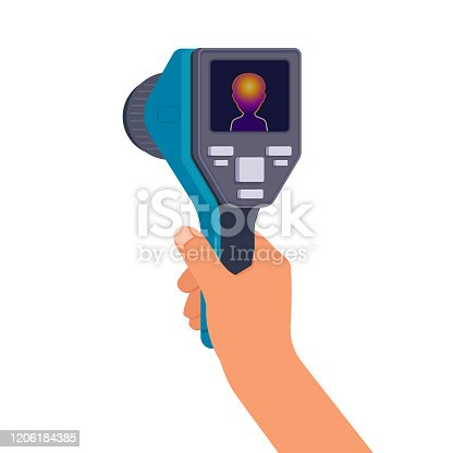 Man s hand holds a thermal imaging camera. Flat vector illustration on white background