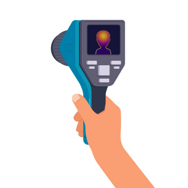 Hand holds a thermal imaging camera Man s hand holds a thermal imaging camera. Flat vector illustration on white background infrared stock illustrations