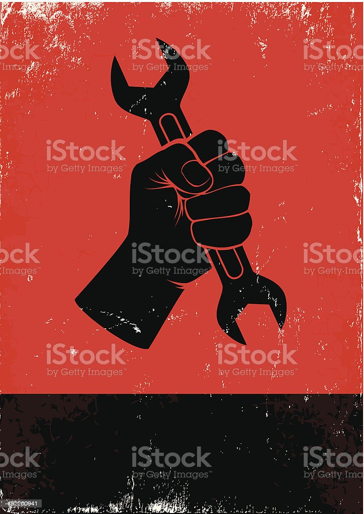 hand holds a wrench vector art illustration