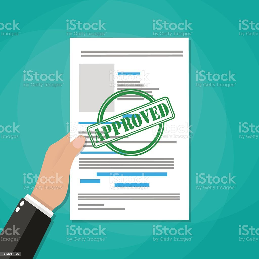 Hand holds approved paper document vector art illustration