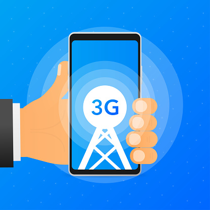 Hand holds phone with a tower that shows the available 3G mobile network on blue background. Vector illustration.