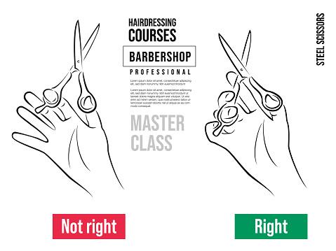 Hand Hält Professionelle Schere Für Haarschnitte Korrektes Und Falsches Halten Der Friseurschere Stock Vektor Art und mehr Bilder von Arbeiten