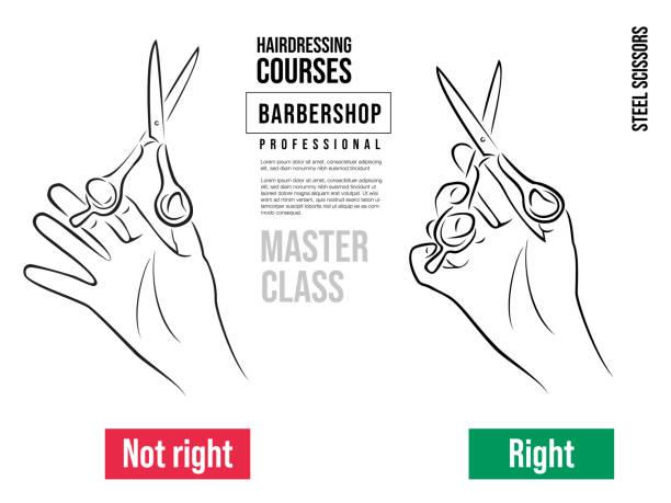 hand hält professionelle schere für haarschnitte. korrektes und falsches halten der friseurschere. - cut wrong hair stock-grafiken, -clipart, -cartoons und -symbole