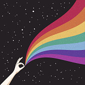 Gay Pride. Romantic LGBT concept. LGBT flag. Abstract vector colorful illustration for poster, t-shirt print, postcard