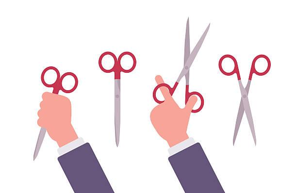 hand holds scissors - acute angle stock illustrations