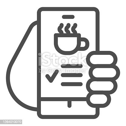 Hand holds smartphone with coffee cup on screen line icon, Coffee time concept, invitation message for coffee break sign on white background, online cafe menu icon in outline style. Vector