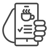 istock Hand holds smartphone with coffee cup on screen line icon, Coffee time concept, invitation message for coffee break sign on white background, online cafe menu icon in outline style. Vector. 1264010070