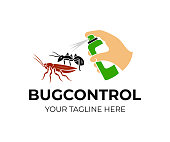 Hand holds spray and sprinkles on ants and cockroach, icon design. Pest control and bug control, in home and in agriculture, vector design. Nature, agricultural and house, illustration