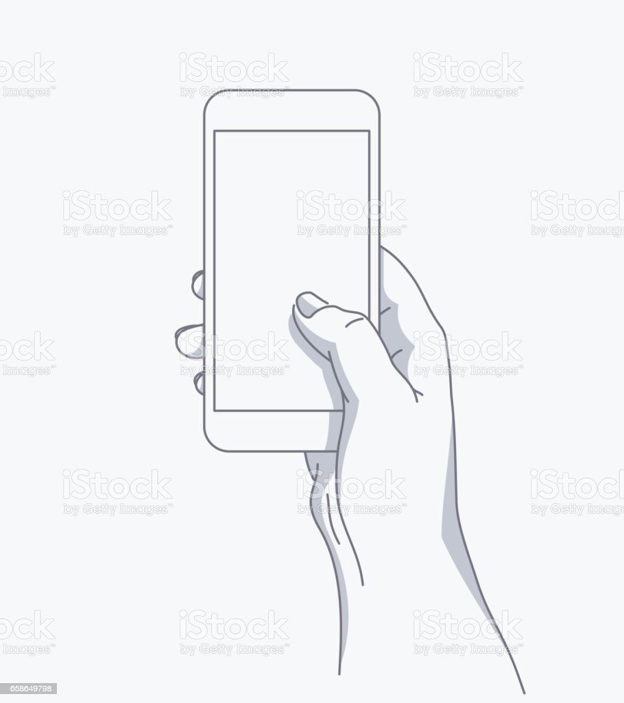 Hand holds the phone vector art illustration