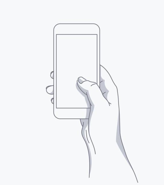 el telefon tutar - hand holding phone stock illustrations