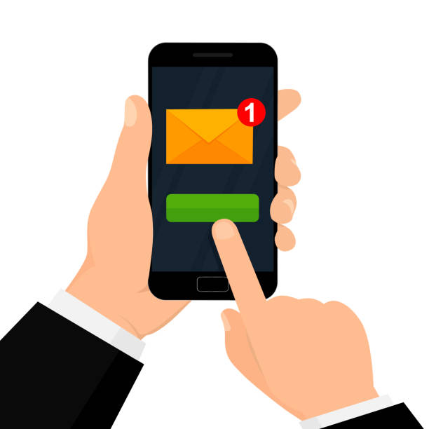 Hand holds the smartphone with new email notification on smartphone screen. E-mail marketing concept. vector art illustration