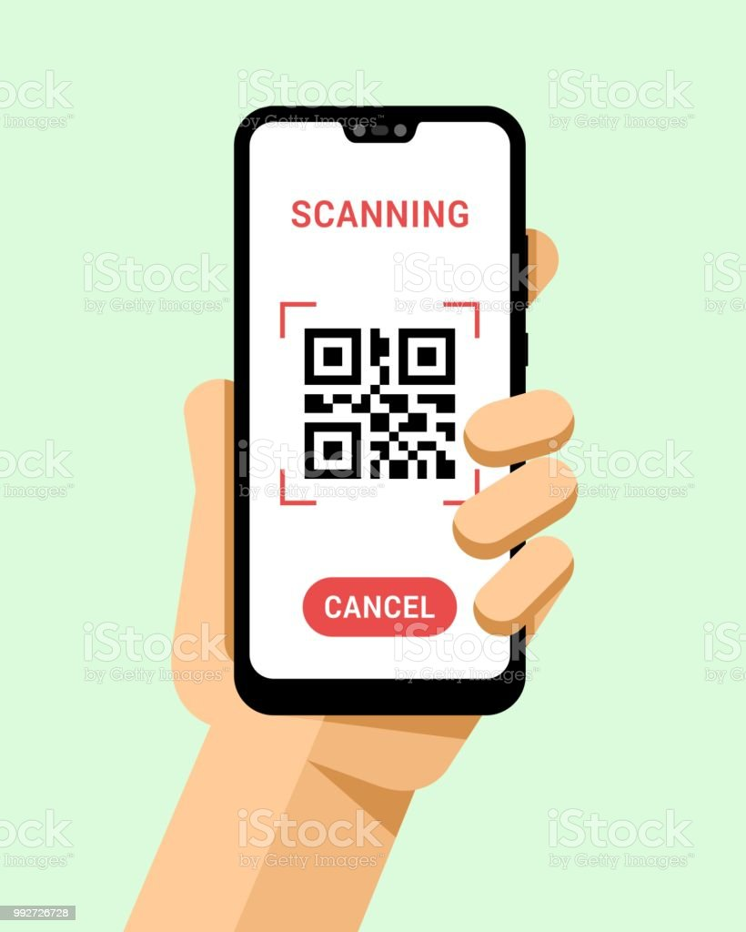 Hand Holds The Smartphone With Qr Code Scanner Application Flat