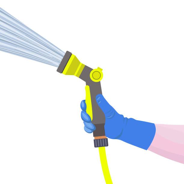 Hand holds the sprinkler hose Hand holds the garden watering hose with water spray gun. Vector illustration hose stock illustrations