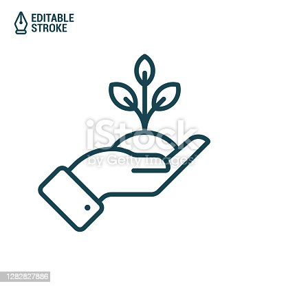 istock Hand holds tree or plant. Outline vector icon with editable stroke 1282827886