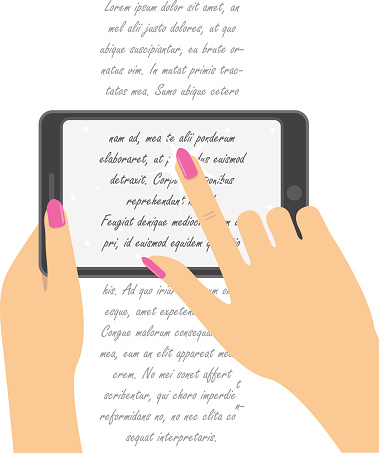 Hand holing smartphone, touching screen. Hand of woman hold tabl