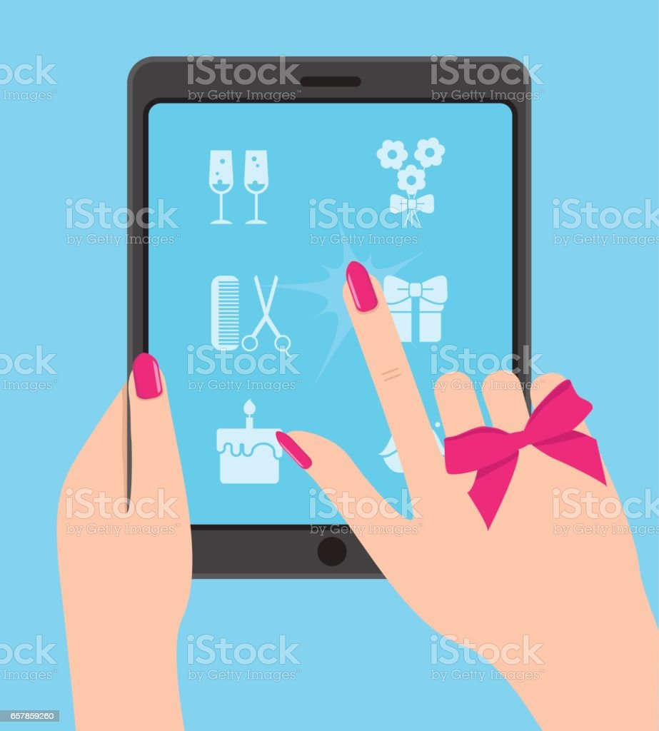 Hand holing smartphone, touching screen. Hand of woman hold tabl vector art illustration