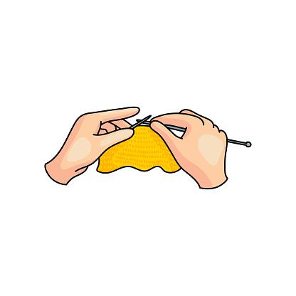 Hand home knitting use metal sticks and yellow cotton