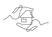 Continuous line drawing of a small house between two human hands, meaning care and love. Vector illustration