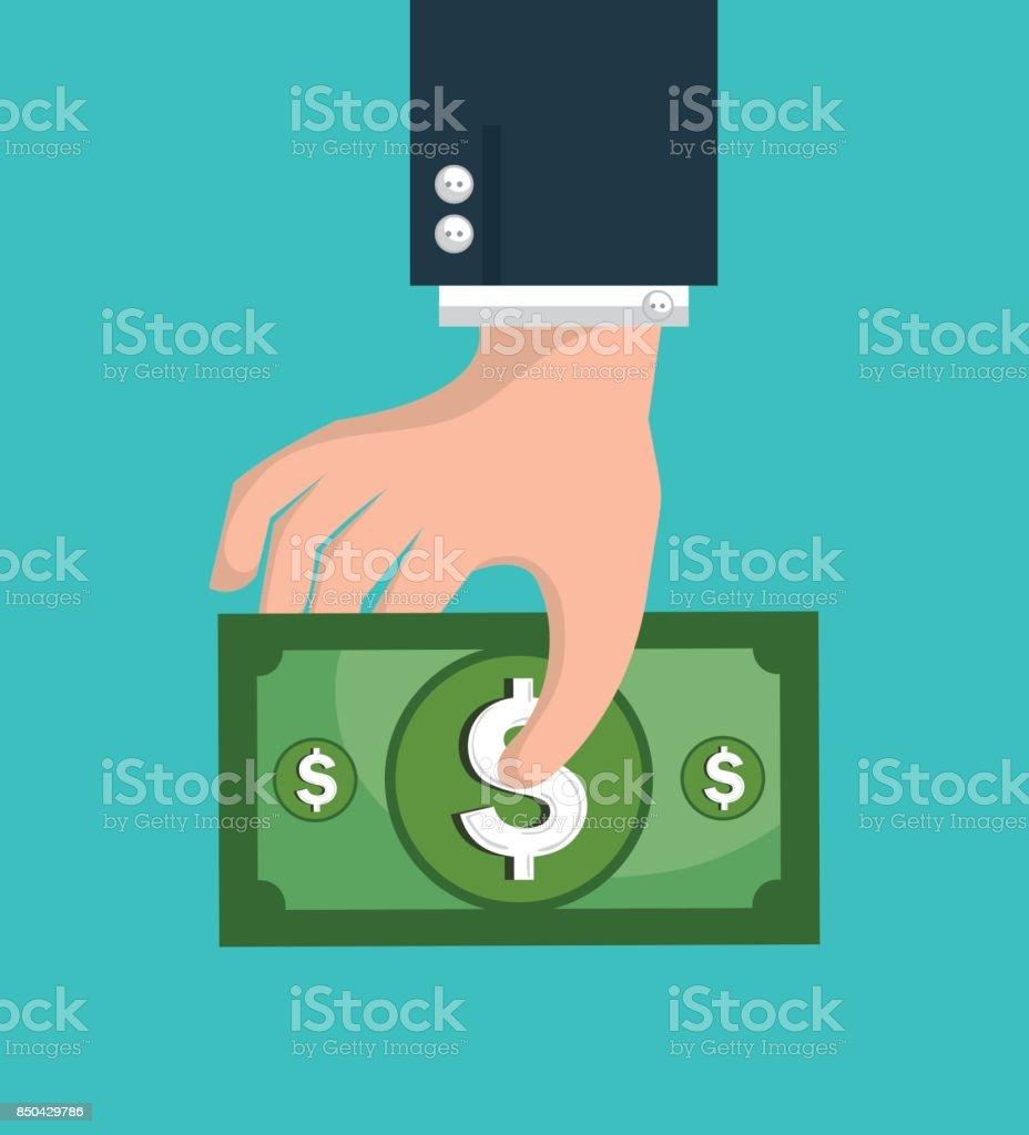 de la mano humana con dinero - ilustración de arte vectorial