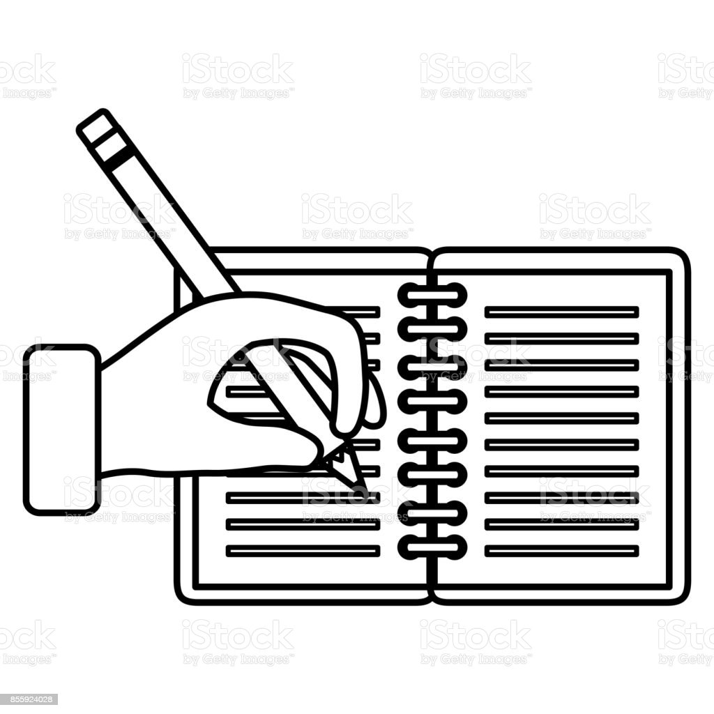 hand human with pencil writing in notebook stock vector art