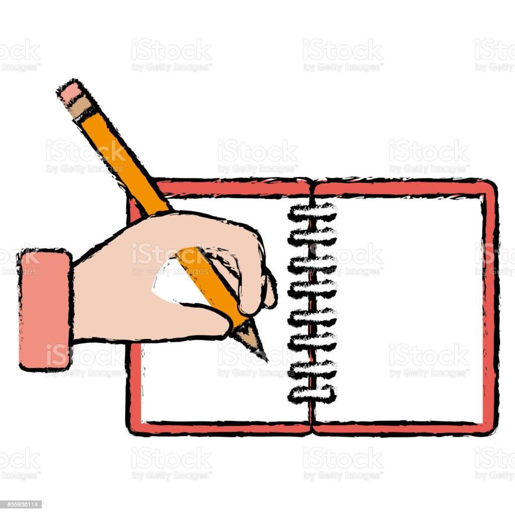 hand human with pencil writing in notebook stock vector art & more