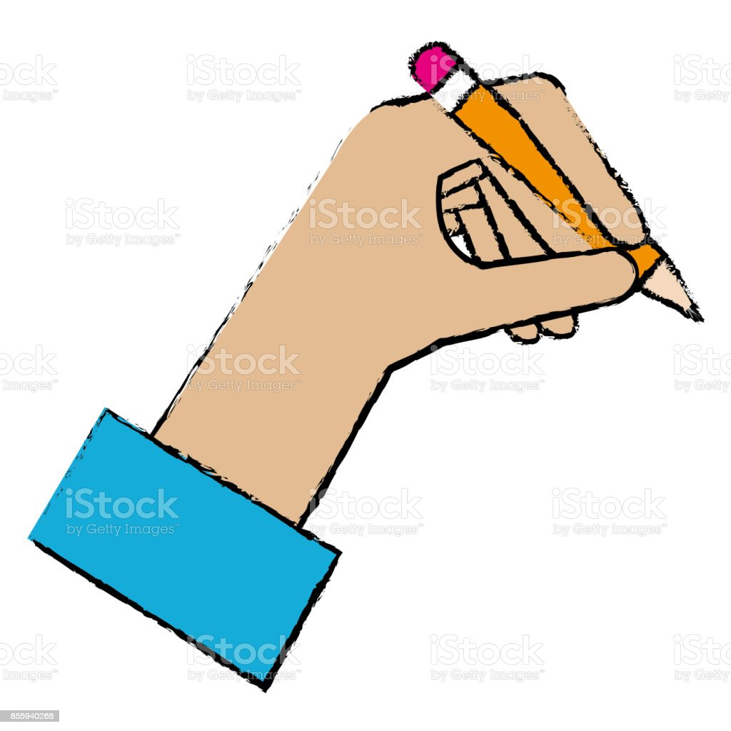 Hand Human With Pencil Writing Isolated Icon Royalty Free Hand Human With Pencil  Writing Isolated