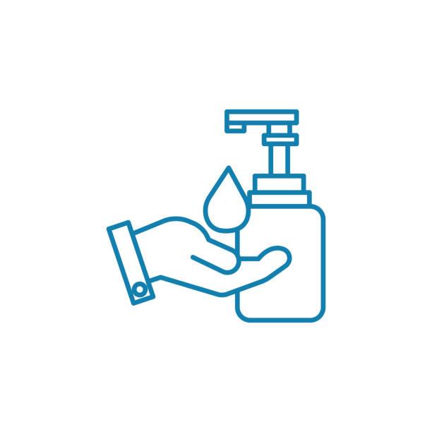手の衛生の線形アイコンのコンセプトです。手衛生行ベクトル記号, 記号, 図。 - 衛生点のイラスト素材/クリップアート素材/マンガ素材/アイコン素材