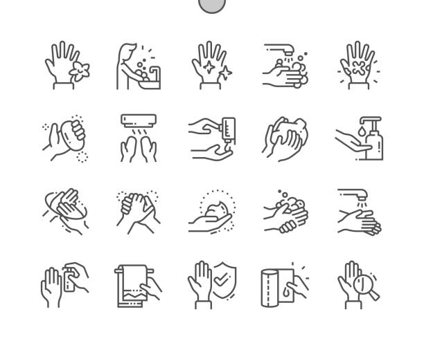 ilustrações de stock, clip art, desenhos animados e ícones de hand hygiene well-crafted pixel perfect vector thin line icons 30 2x grid for web graphics and apps. simple minimal pictogram - hand
