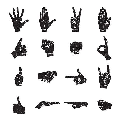Vector illustrations set of black human hands in various gestures