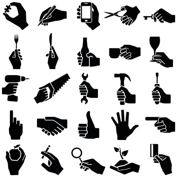 Hand icon collection - vector silhouette illustration Hand with tool icon silhouette screwdriver drink stock illustrations