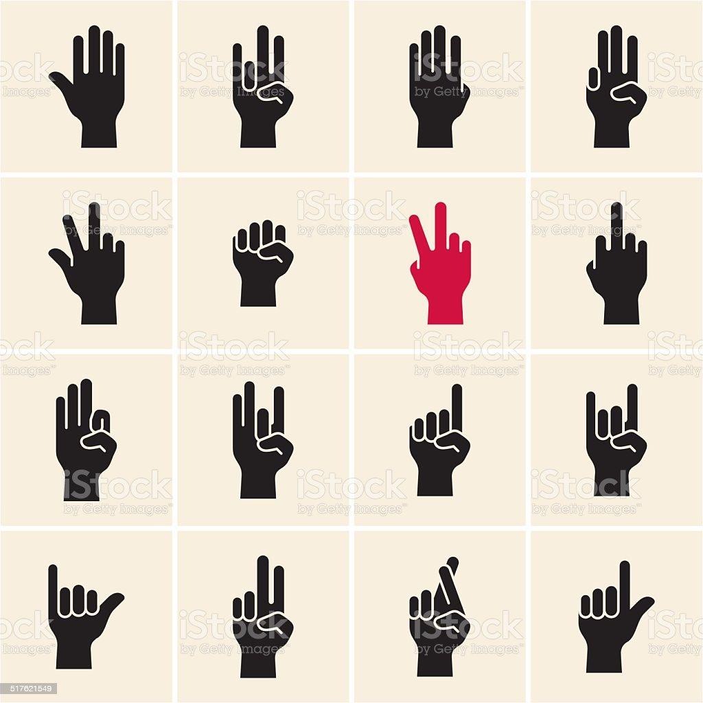 Symbol Mit Einer Hand Gekennzeichnet Finger Stock Vektor Art und ...