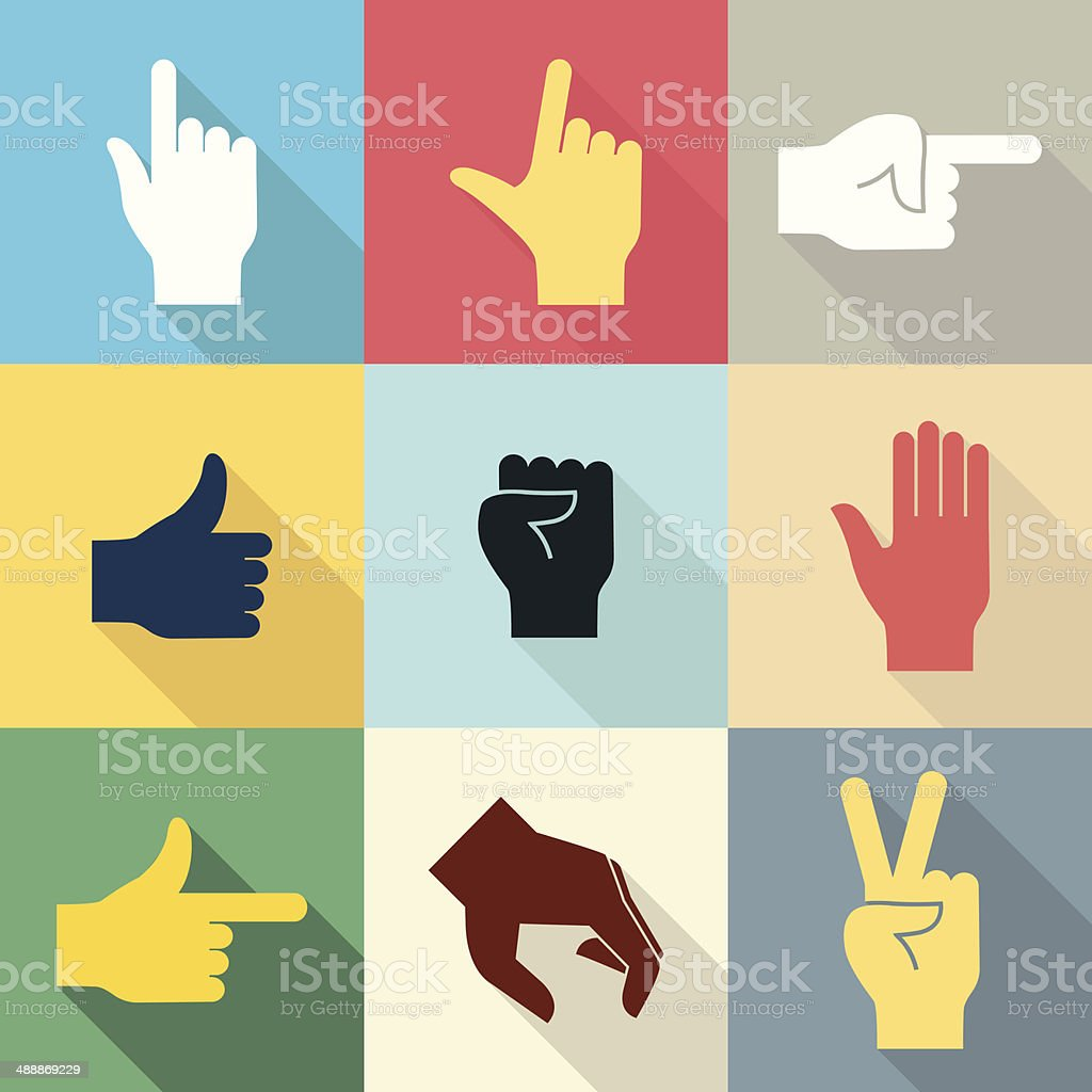 Hand icon set 2 vector art illustration