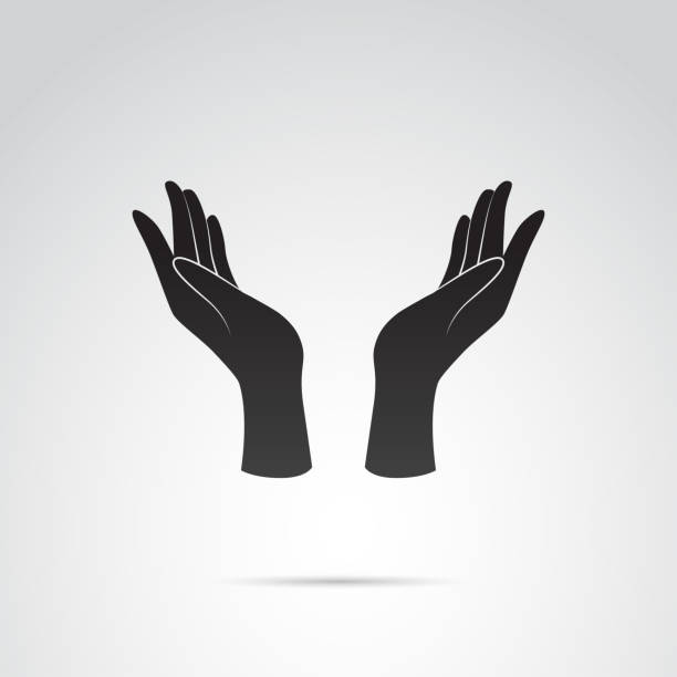 hand icon - support, care gesture. vector art. - dłoń stock illustrations