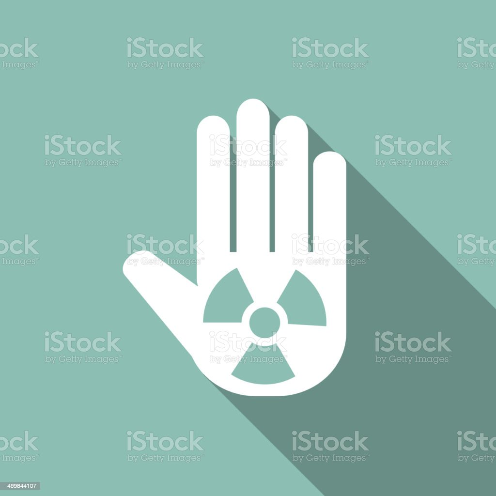 Hand icon with a toxic symbol on it vector art illustration