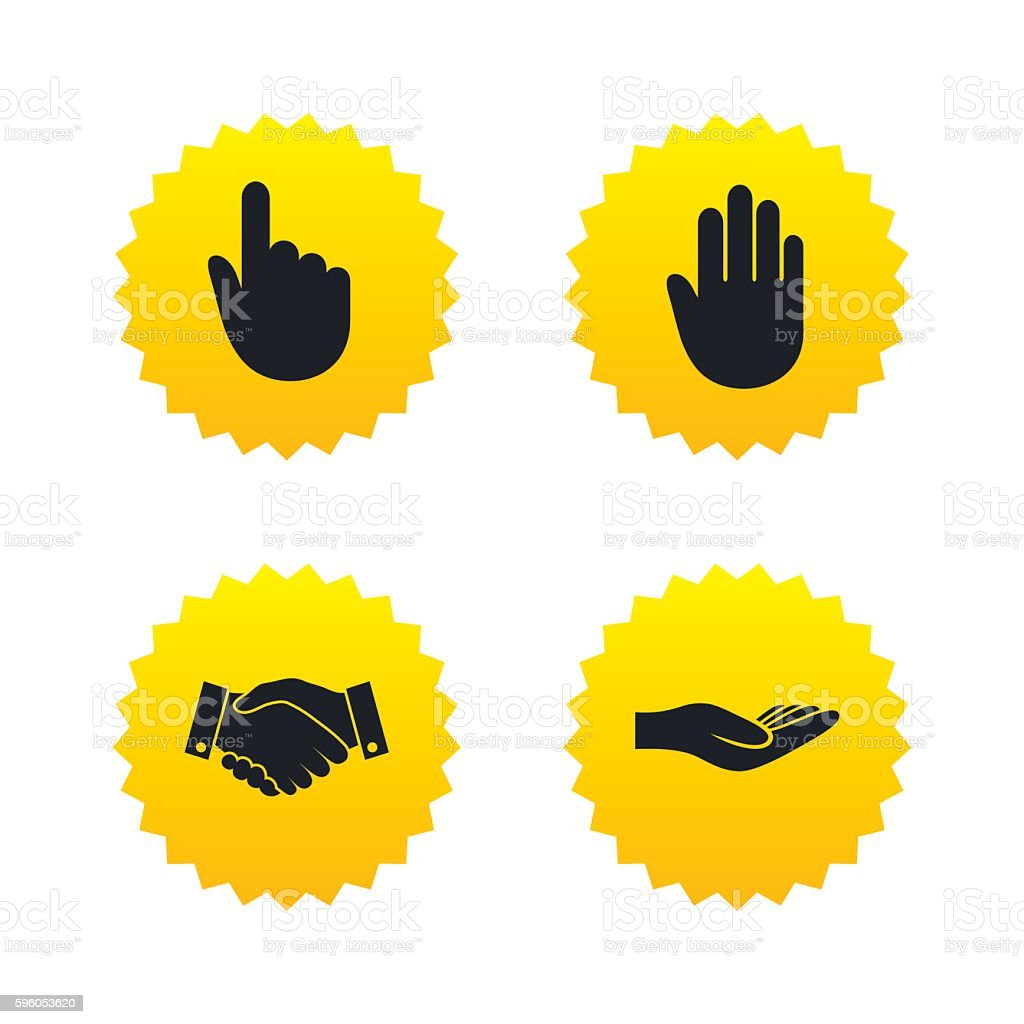 Hand icons. Handshake and click here symbols. royalty-free hand icons handshake and click here symbols stock vector art & more images of badge