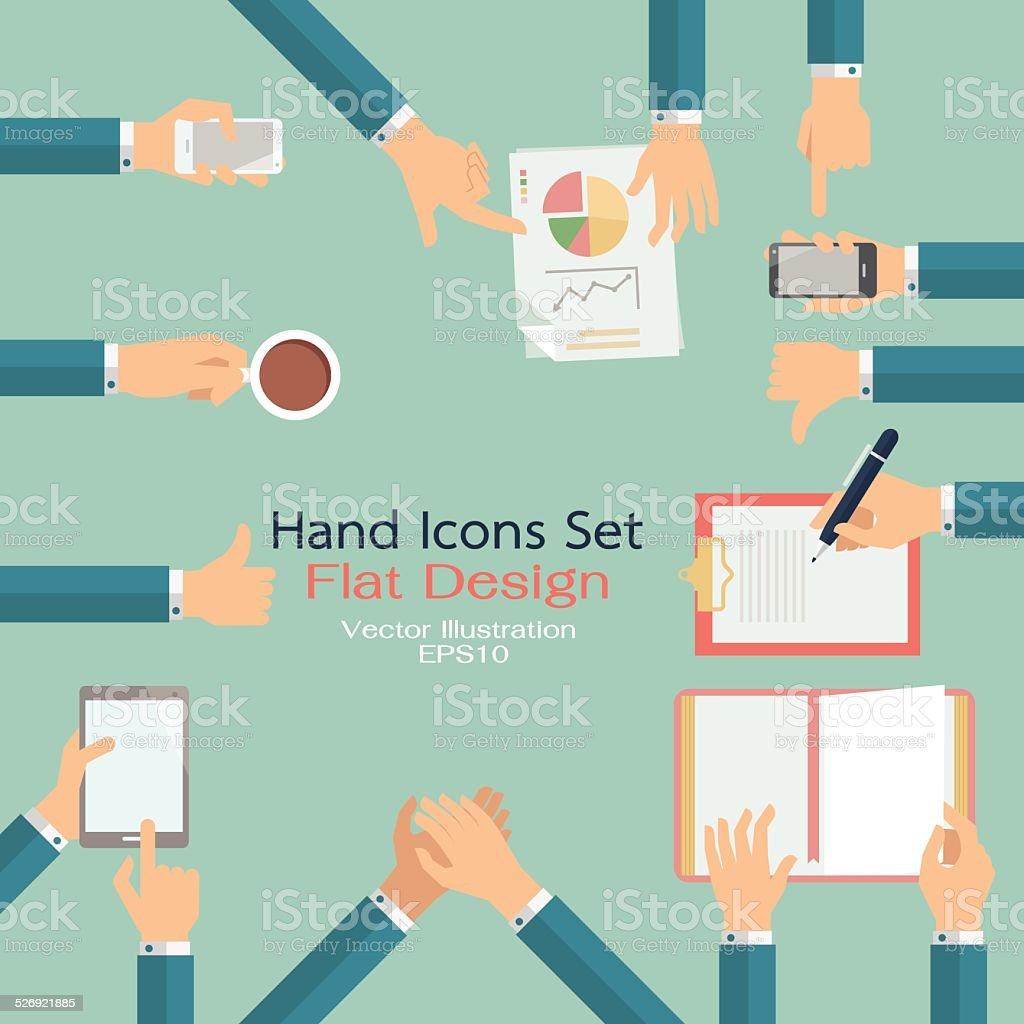 Hand icons set vector art illustration