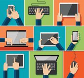 Vector set of flat hand icons holding various hi-tech computer and communication devices.