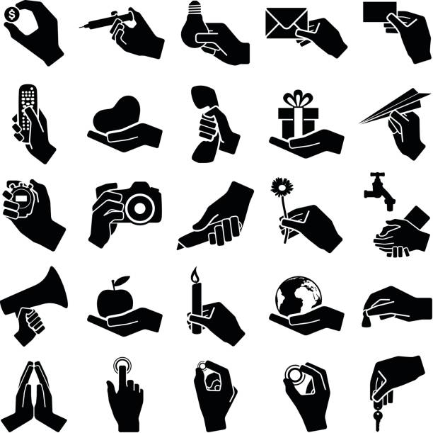 Hand icons Hand icon collection - vector silhouette illustration utility knife stock illustrations