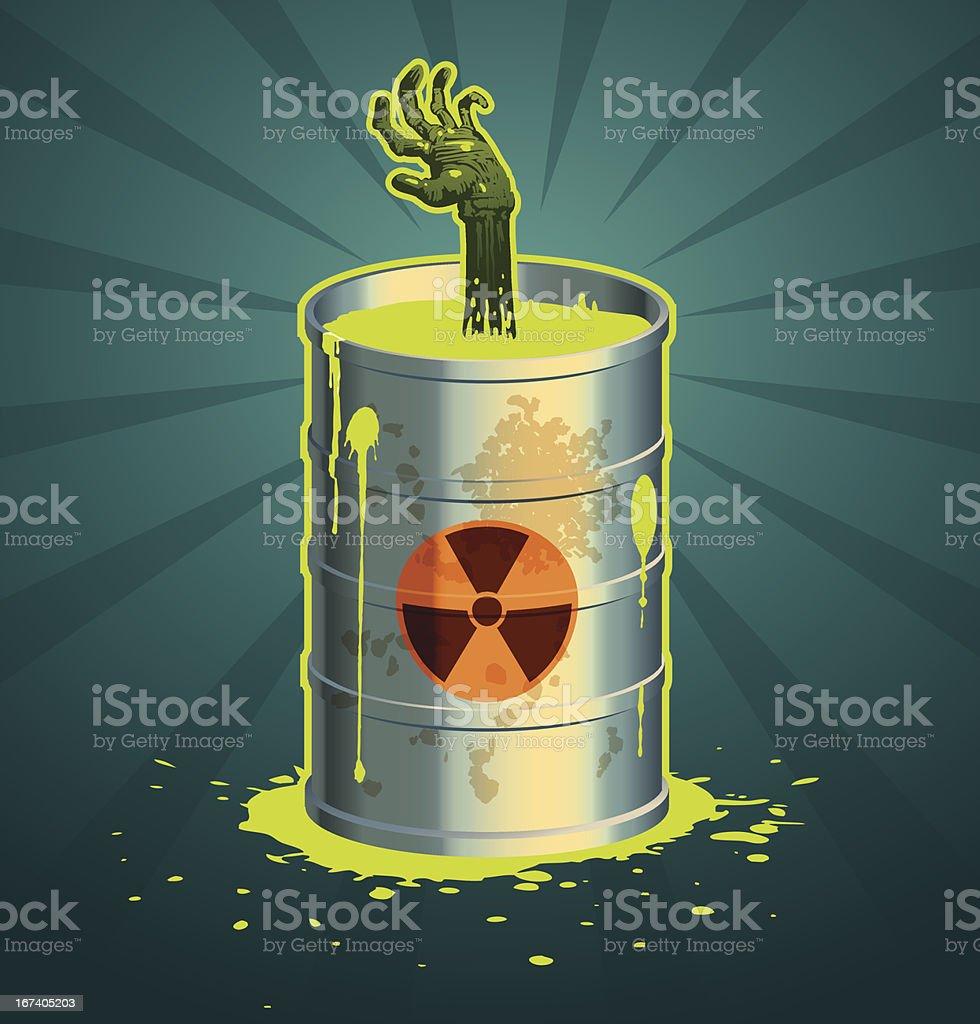 Hand in a barrel of radioactive waste vector vector art illustration