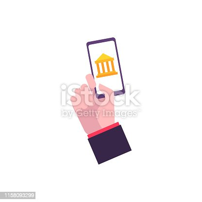 Hand in a flat style holds a smartphone with a bank image. Smartphone in hand as a stage and element of money evolution. Mobile banking, vector illustration.