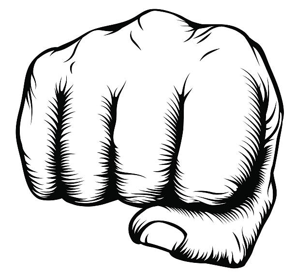 hand in fist punching from front - black power stock illustrations