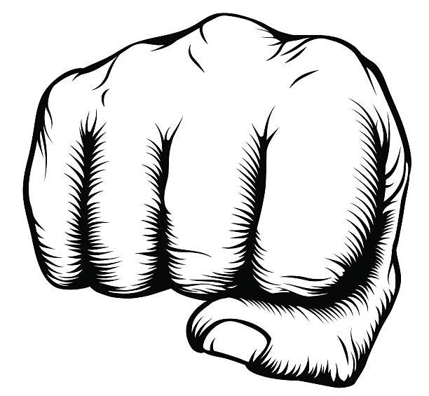 손 에서 주먹 천공 메트로폴리스 앞마당 - black power stock illustrations
