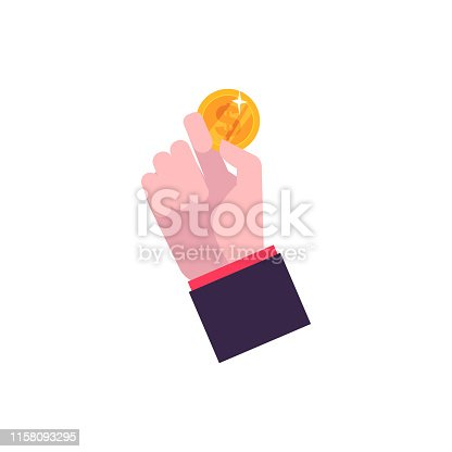 Hand in flat style holds a gold metal coin. Gold coin in hand as a stage and element of money evolution. Isolated vector illustration on white background.