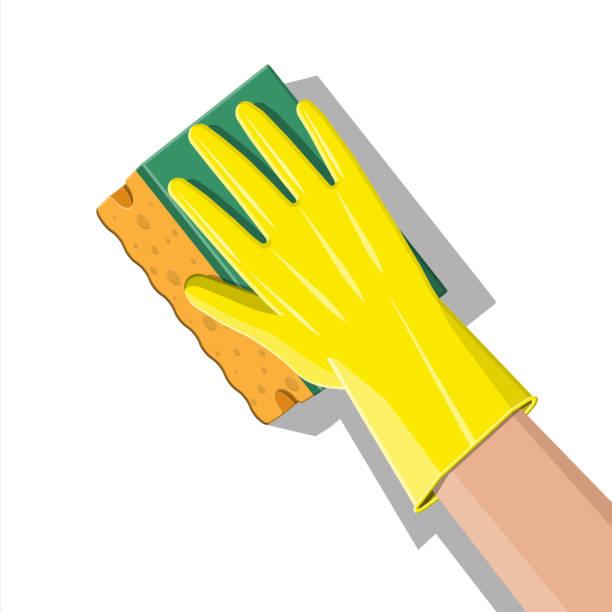 ilustrações de stock, clip art, desenhos animados e ícones de hand in gloves with sponge wash wall - esponja