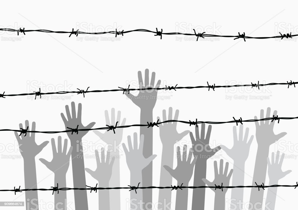 hand in jail vector art illustration